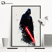 Watercolor Darth Vader Minimalist Canvas Poster Painting Star Wars Movie Picture Print Room Decoration Modern Home Decor