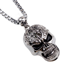 Free Shipping Skull Necklaces Pendants For Mens top Quality Titanium Steel Chain New Fashion Jewelry cool colar masculino 75015(China)