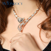 MOONROCY Free Shipping Fashion Crystal Necklace Rose Gold Color fox Austrian Crystal necklace jewelry for women Gift