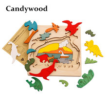 Candywood Wood Puzzle Animal Transport Multi-imensional 3D Jigsaw multilayer cartoon puzzle Educational Montessori Toy for Child(China)