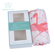 Baby produFlamingo Organic Baby Swaddle Muslin Bamboo Cotton Baby Blanket Diapers Envelope For Discharge Newborns Wrap Bedding(China)