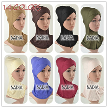 Full Cross Inner Muslim Hijab Cap Women Viscose Jersey Plain Soild Hijab Underscarf Islamic Head Wear Hat Bonnet Tubes Wraps