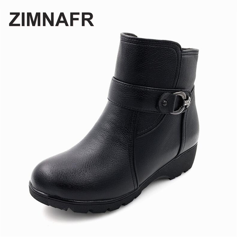 ZIMNAR BRAND 2017 WINTER WOMEN GENUINE LEATHER BOOTS SNOW BOOTS WOOL ANTISKID WATERPROOF WOMEN WINTER BOOTS PLUS SIZE 35-43<br>