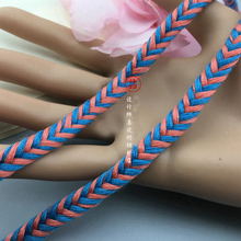 "10 yard 0.8cm 0.31"" wide blue orange ornaments collar rope tapes lace trim ribbon ML328P907 free ship"