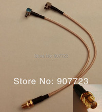 "RP-SMA Female To Y Type 2xTS9 TS-9 Plug Splitter Combiner RF Jumper Pigtail Cable RG316 6""(China)"