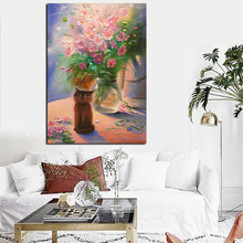 Big Size Print Modern Floral Flower Vase Abstract Oil Painting on Canvas Art Wall Picture Modern for Living Room Cuadros Decor