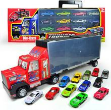 Container truck model,toy car trailer,Large storage box truck with 12 alloy slide car collection,free shipping(China)