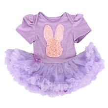 Happy Easter Hare Rabbit Applique Purple Baby Rompers Lace Petti Romper Dress Infant Clothes Toddler Girl Clothing Easter Outfit(China)