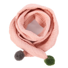 Children's Scarves Autumn and Winter Baby Cotton Linen Scarf Boys Girls Pure Color O ring Scarf Kids New Fashion Neck Scarves