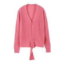 Fashion Design Women Pink V-neck Sweater Winter Ladies Christmas Sweater Gentle Belt Wool Thick Sweater Female Jumper Pullovers