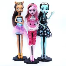 3pcs/lot 28cm Draculaura Clawdeen Wolf Frankie Stein Moveable jonit Body Fashion Dolls for kids gifts