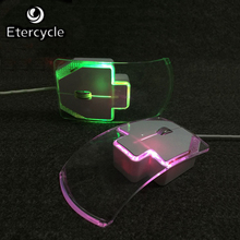 With Retail Packaging Crystal Silent Quiet Wired Mouse USB Colorful LED Optical Transparent Ultrathin Mice For PC Laptop(China)