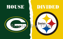 3ftx5ft Green Bay Packers And Pittsburgh Steelers And Chicago Bears House Divided Flag With metal Grommets(China)