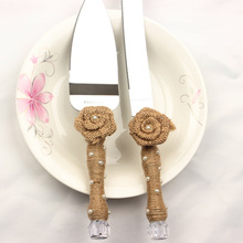 Free Shipping Stainless Steel Wedding Cake Knife Serving Set with Jute Flower Rustic Wedding Table Decoration Party Supplies