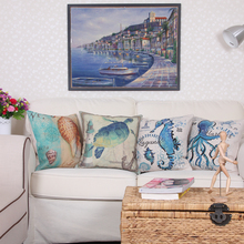 2017 Mediterranean Style Pillowcase Linen Cushion Cover Shedd Aquarium Marine Biology Octopus Pillow Covers Conch Hippocampus