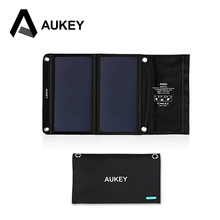 AUKEY 14W Solar Charger with Dual USB Port for Apple iPhone , Android (Foldable, Portable, AiPower Adaptive Charging Technology)