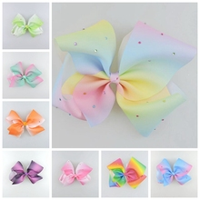 20pcs Jeweled Pastel ombre ribbon 18cm Signature hair bows clips Rainbow Rhinestone Dance Cheerleader Pageant Accessories HD3474(China)