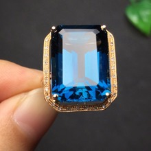 Fine Jewelry real 18k rose gold upclass 100% Natural Blue topaz Gemstone Female fine wedding engagement rings for women rings(China)