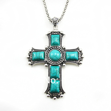 Vintage Cross Pendant Necklaces Silver Chain Blue Stone Necklace Women Jewelry Big Cross Necklace Jesus Piece nkej84(China)