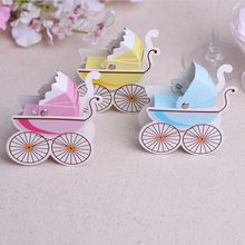 25Pcs 8x3x9cm Paper Candy Box Stroller Shape Baby Shower Kids Favor Birthday Party Wedding Gifts Christening Boutique Supplies