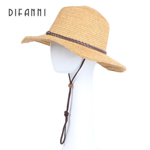 Difanni Western Cowboy Caps Sun Hats For Couple Sombreros Vaquero Casual Panama Straw Hat Wide Brim Beach Fedora For Men/Women