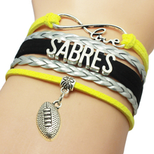 Infinity Love Buffalo Sabres Baseball Team Bracelets Leather Suede Rope Charm Customize Friendship Wristband Women Bangle