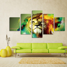 No Frame 5 Pieces Colorful Tiger Head Oil Painting Wall Pictures Decor Pop Art Cuadros High Defination Prints Canvas Painting