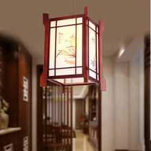 New Chinese elegant coffee wood art Pendant Lights The ancient four gentlemen of flower design lamp for pavilion&vestibule MF007(China)