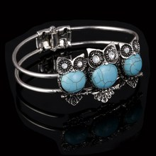 Tibetan Silver Color Alloy Retro Owl Cuff Bangle Bracelet Women Bohemia Crystal Party Bracelet Jewelry Wrist Bangle