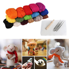 New 16 Colors Wool Felt + Needles Felt Tool Set Needle Felting Mat Starter Tool Kit For Sewing Accessories