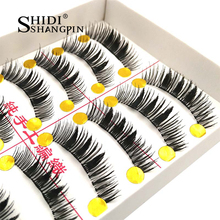 10 Pairs Handmade False Eyelashes Thick Gear Type Separate Fake Eye Lashes Cosmetic Eyelashes Extension 11mm Faux Lashes