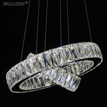 VALLKIN LED Crystal Pendant Lights Lamps Fixtures For Hallway Cafe Stainless Steel Clear K9 Crystal Lighting CE FCC ROHS
