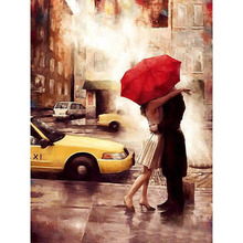 Frameless Kiss Lover Diy Digital Painting By Numbers Wall Art Acrylic Paint On Canvas Handpainted Oil Painting Gift 40x50cm Arts(China)