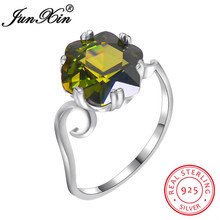 JUNXIN 100% Real 925 Sterling Silver Olive Green Zircon Rings For Women Fashion Birthstone Ring Wedding Engagement Jewelry Gifts
