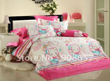 500 thread count pink cartoon hello kitty pattern duvet covers sets 4pc for full/queen children's girl's comforter or quilt #N
