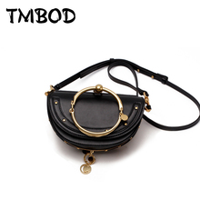 New 2017 Design Women Round Metal Ring Small Tote with Pendant Half Moon Messenger Bag Split Leather Handbags For Female an763