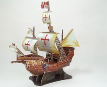 Santa Maria Swiftsure pirate ship assembled model 3D paper puzzle toy children gift(China)