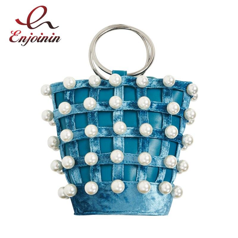 Elegant fashion pearl corduroy pu leather metal ring handle ladies shoulder bag handbag female crossbody mini messenger bag<br>