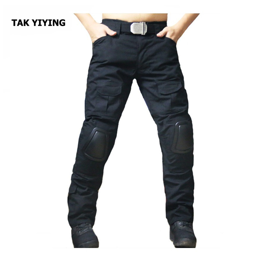 TAK YIYING mountaineering trousers men zipper camping hiking pants Outdoor Hunting Pants With Knee Pads Black<br>