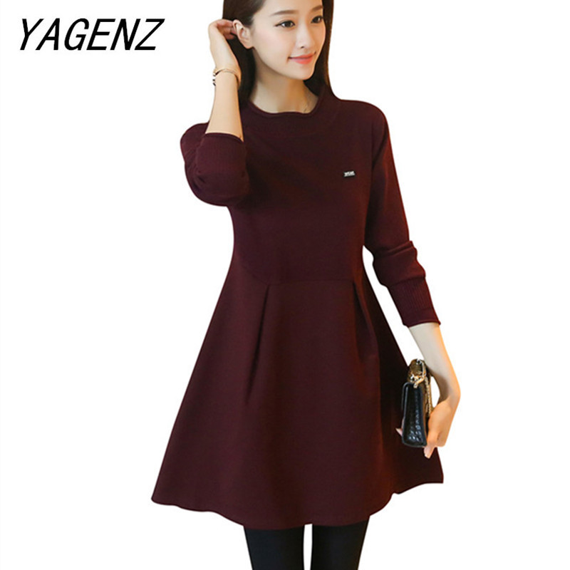 Autumn winter women pullover sweater dress fashion loose long-sleeve Knitwear casual Female dress Solid warm  Knit A-line dress