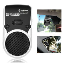hot fashion solar powered speakerphone Wireless Bluetooth Handsfree Car Kit For Mobile Phone Dual Phone Connect(China)