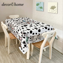 decorUhome Polyester Waterproof Rectangle Tablecloths Dalmatian Dog Retro Flower Oilproof Table Cloth Home Banquet Table Covers