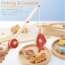 Hot Children Toys Wooden Fishing Cutting Cooking Multifunction Toy Magenetic Puzzles Family Game Toy For Baby Kids