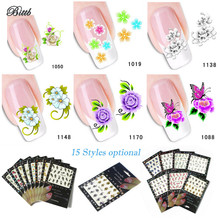 Bittb 100Pc Nail Art Sticker Flower Butterfly Designs Fingernail DIY Beauty Nail Decals Manicure Makeup Tool Nail Adhesive Foils