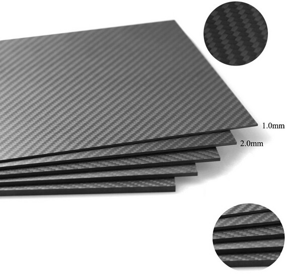 Free Shipping 1.0X400X250mm/2.0X400X250mm CNC Machine Carbon Sheets High Composite Hardness Material Carbon Fiber Board <br>