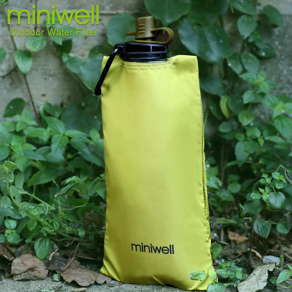 miniwell water filter foldable water bag hiking,biking travel kit