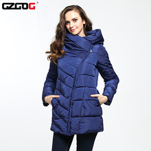 2016 Dark Blue Women Cotton Jackets Long Thick Solid Warm Parka Zipper Slim Hooded Female Warm Clothes Lady Winter Coat L-3XL