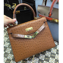 Luxury Designer handbags High quality Genuine Cowhide Leather Tote Women Bag Satchel Gold Buckle Cross Body Bag Ostrich pattern