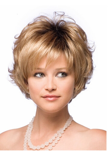 New Bob style Synthetic wigs for women Short Wavy Blonde wig with bangs high temperature wire Free shipping<br><br>Aliexpress