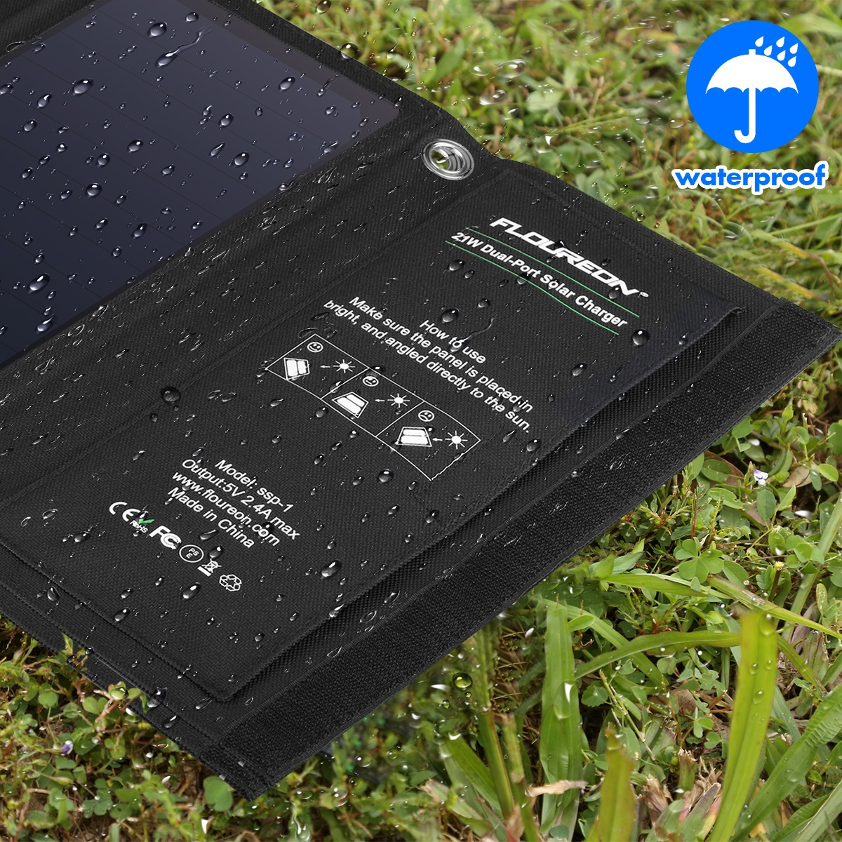 FLOUREON 28W Foldable Waterproof Solar Panel Charger Mobile Power Bank for Smartphones Tablets Triple USB Ports Outdoor 11